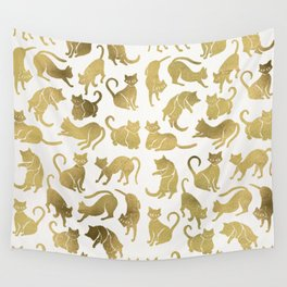 Cat Positions – Gold Palette Wall Tapestry