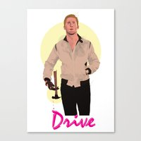 ryan gosling Canvas Prints featuring Drive - Ryan Gosling by Just Jolt