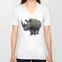 rhino V-neck T-shirts featuring Rhino by Dusty Goods