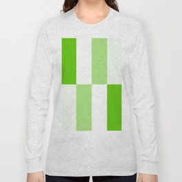 Green and white Block gradient Long Sleeve T-shirt