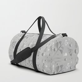Vector pattern from silver black plants and grass blades on a gray background in vintage style. For Duffle Bag