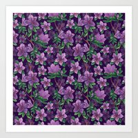 A watercolor seamless pattern of pink rhododendron flowers, branches of green leaves Art Print