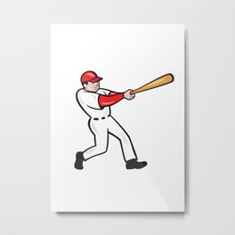Baseball Player Batting Isolated Cartoon Metal Print