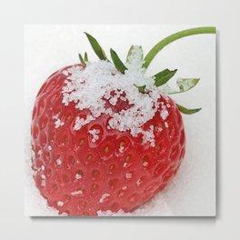 Strawberry loves sugar Metal Print