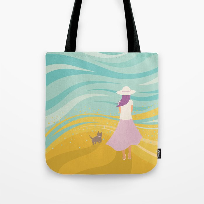 Listen to the Ocean (Girl and Cat Vector Graphic Illustration) Tote Bag