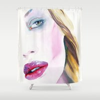 lipstick Shower Curtains featuring Crimson lipstick by Cora-Tiana