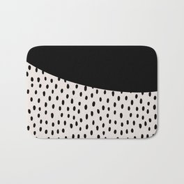Modern geometrical black ivory paint  brushstrokes Bath Mat