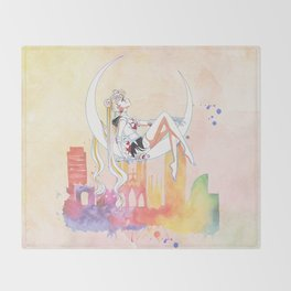 Can not Fight The Moonlight Watercolor Version Throw Blanket