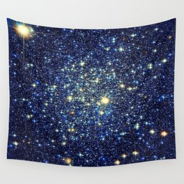 galaxY Stars : Midnight Blue & Gold Wall Tapestry