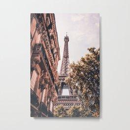 Paris Eifel Tower Pink photography in HD Metal Print