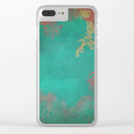 Grunge Garden Canvas Texture:  Pink and Turquoise Floral Clear iPhone Case