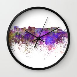 Duluth skyline in watercolor background Wall Clock