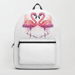 Flamingo Watercolor Two Flamingos in Love Backpack