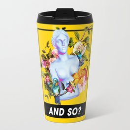 Vaporwave Venus with Flowers Travel Mug
