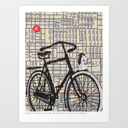 Bicycle with Mascot, S.E. 37th and Hawthorne, You Are Here, Portland. Art Print