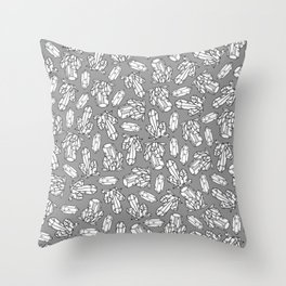 Crystal Drawings - White and Gray Throw Pillow