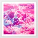 Girly Infinity Symbol Bright Pink Clouds Sky by girlytrend