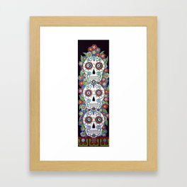 Sugar Skull Totem Framed Art Print