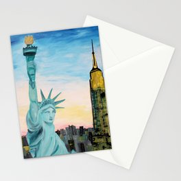 Statue of Liberty with view of NEW YORK Stationery Cards