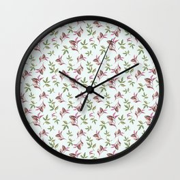 Hand painted pastel green pink watercolor leaves pattern Wall Clock