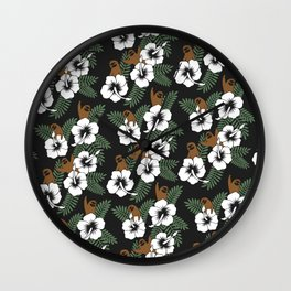 Sloth and Hibiscus Flowers Wall Clock