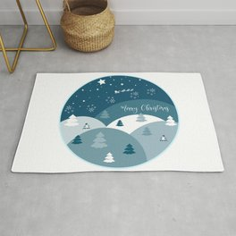 Merry Christmas Round Sign  Rug