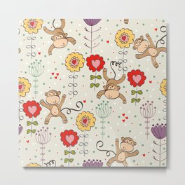 Cute Baby Monkeys Hand Drawn Patter Metal Print