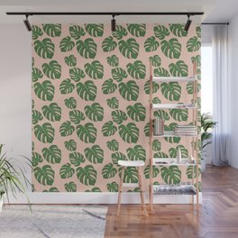 Monstera with pink background Wall Mural