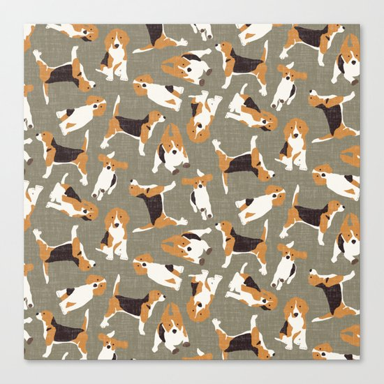 beagle scatter stone Canvas Print