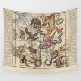 Ignace-Gaston Pardies - Globi coelestis Plate 5: Hercules, Sagittarius and other constellations 1693 Wall Tapestry
