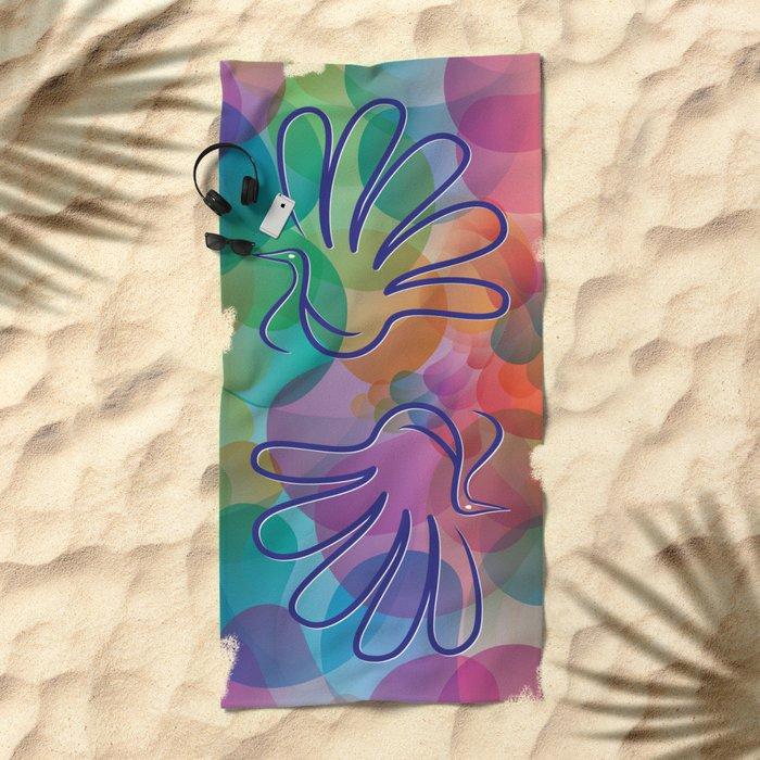 Peacock - Five-finger gloves Beach Towel