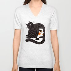 CAT HAIR Unisex V-Neck