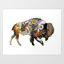 Colored Native Bison Art Print