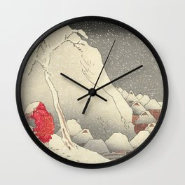 In the snow at Tsukahara on Sado Island Wall Clock