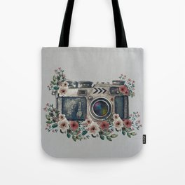 Camera with Summer Flowers Tote Bag