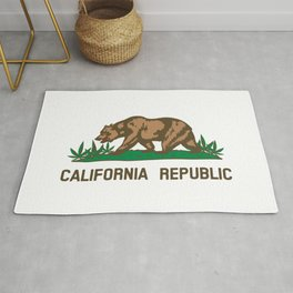 California Republic Bear with Marijuana Plants Rug