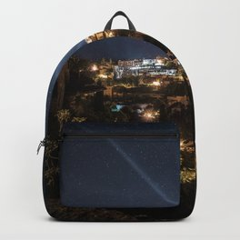 Rays of light Stars France Gordes Sky Night Houses Cities night time Building Backpack