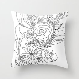 Floral Sketch Throw Pillow