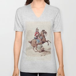 Illustration of a dragoon from Picturesque Representations of the Dress and Manners of the English(1 Unisex V-Neck
