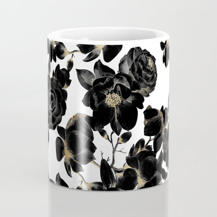 Modern Elegant Black White and Gold Floral Pattern Coffee Mug