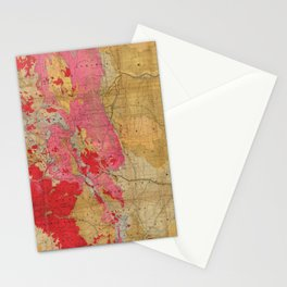 Vintage Geological Map of Colorado (1879) Stationery Cards