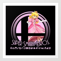 super smash bros Art Prints featuring Peach - Super Smash Bros. by Donkey Inferno