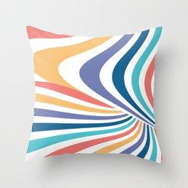 Marble // Retro Rainbow Stripes Throw Pillow