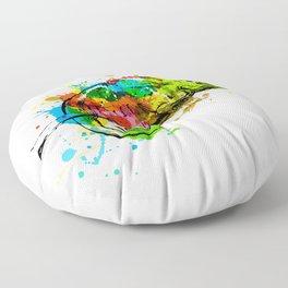 Colored hand sketch chameleon Floor Pillow