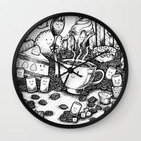 coffe Wall Clocks featuring Smile coffe by Kisava NiCh