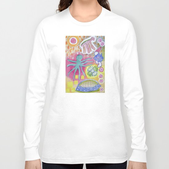 Blue Octopus and white Knight Long Sleeve T-shirt