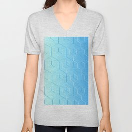 Silver to Blue Gradient Unisex V-Neck