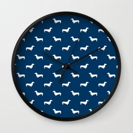 Dachshund pattern minimal navy blue and white dog lover home decor gifts accessories silhouette Wall Clock