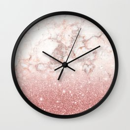 Elegant Faux Rose Gold Glitter White Marble Ombre Wall Clock