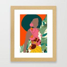 Jungle Pop! Retro princess Textile Collage Framed Art Print